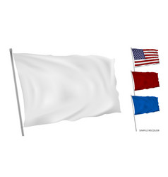 3d white flag on flagpole in wind simple recolor vector image