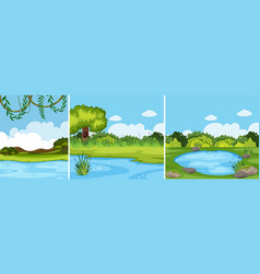 a set of green landscape vector image