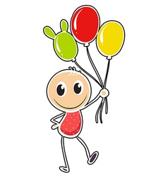 A young boy with three balloons vector image