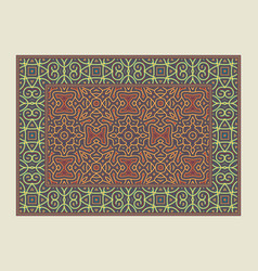 Asian traditional carpet colorful tribal vector