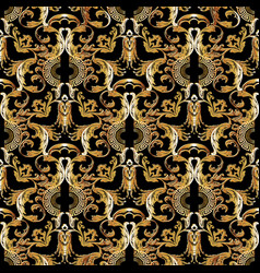 Baroque gold seamless pattern floral vintage vector