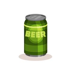 Beer in bright green aluminium can popular vector