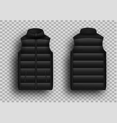 Black winter puffer vest sleeveless jacket mockup vector