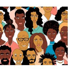 Black womens mens head portraits line drawing vector