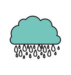 blue cloud rainning icon vector image