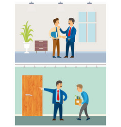 boss with discharged worker businessman at office vector image