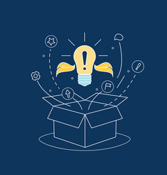 Box idea with electric light bulb thin line vector