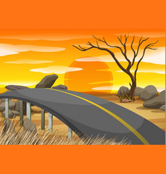 bridge across the savanna field vector image