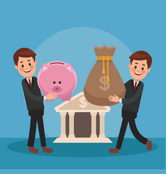 businessmens and money cartoons vector image