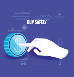 Buy safely online with hand and coin vector