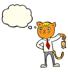 Cartoon business cat with dead mouse with thought vector