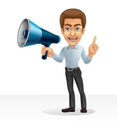 Cartoon character - businessman with speaker vector image