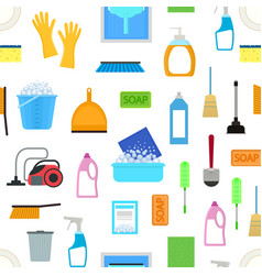 cartoon household cleaning seamless pattern vector image