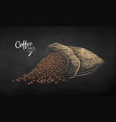 chalk drawn sketch of sack with coffee beans vector image