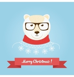 Christmas cute forest bear head logo vector image