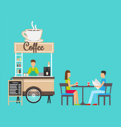 coffee stand seller in store clients by table vector image