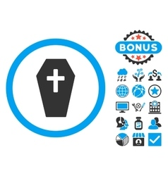 Coffin Flat Icon with Bonus vector image