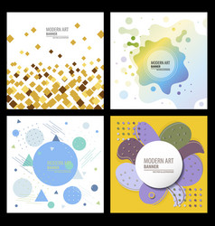 Collection of creative universal artistic cards vector