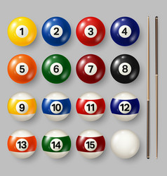 Colorful billiard pool balls with numbers on gray vector