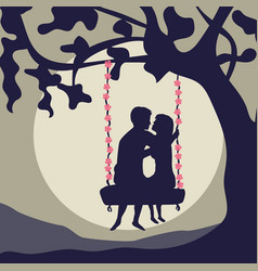 couple on a swing vector image