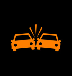 Crashed cars sign orange icon on black background vector
