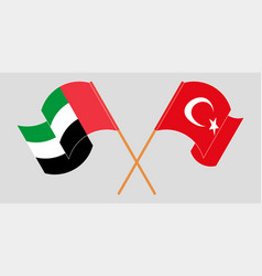 Crossed and waving flags turkey and united vector