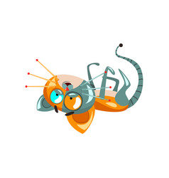 Cute funny robotic cat lying on his back vector