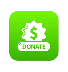 Donate badge icon green vector