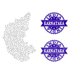 Dotted map of karnataka state and distress seal vector