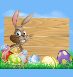 Easter bunny background sign vector