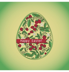 Easter egg with strawberry green greeting card vector