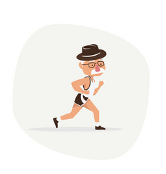 elderly man running flat character design vector image