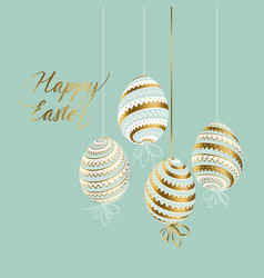 Elegant gold and pastel color easter eggs vector