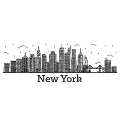 Engraved new york usa city skyline with modern vector