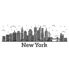 engraved new york usa city skyline with modern vector image
