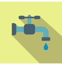 Faucet flat icon with shadow vector