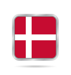 Flag of denmark shiny metallic gray square button vector