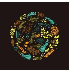 Floral circle with doodles flowers vector