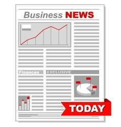 Fresh business newspaper with different diagrams vector image