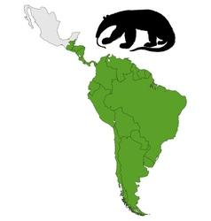 Giant anteater range vector image