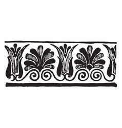 Greek band design are palmette black and brown on vector