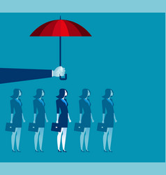 Hand holding umbrella above businesswoman vector