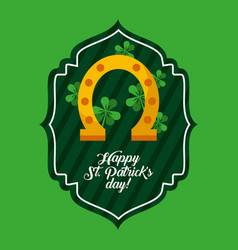 happy st patricks day green label golden horseshoe vector image