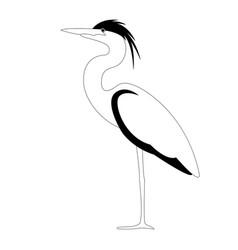 Heron walking lining draw vector
