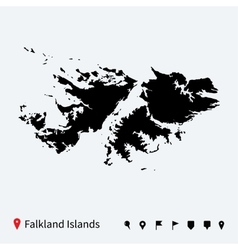 High detailed map of Falkland Islands with pins vector image