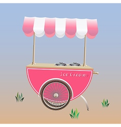 Ice Cream Cart or Ice Cream stand Pink color vector