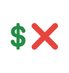 icon concept of dollar symbol with x mark vector image