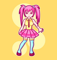 japanese anime cosplay girl cute fashion vector image