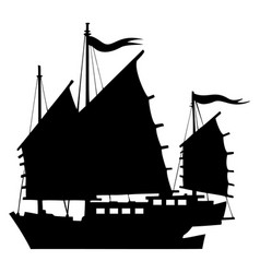 Junk chinese boat silhouette vector