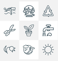 landscape icons line style set with water vector image